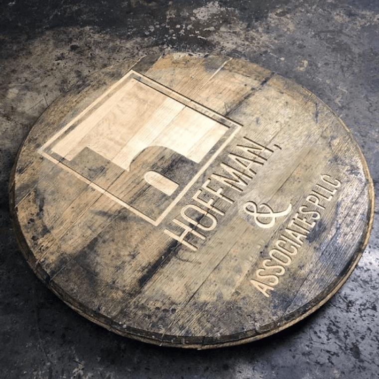 Hoffman and Associates logo debossed into a barrel top
